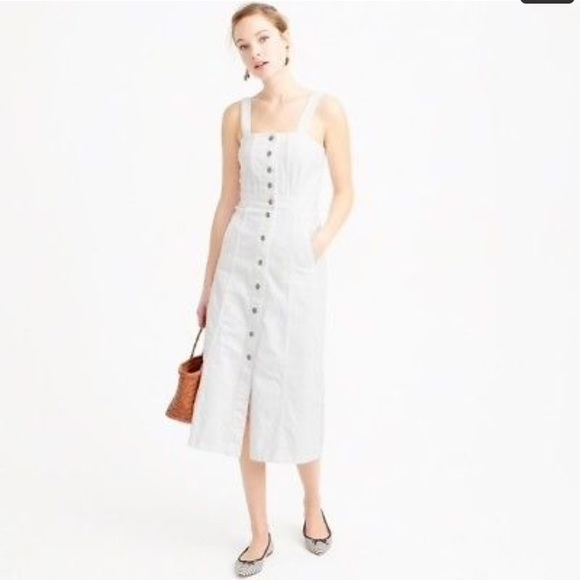 9194ac512b86 J. Crew Dresses   Skirts - J. Crew Button Front Dress in White Denim
